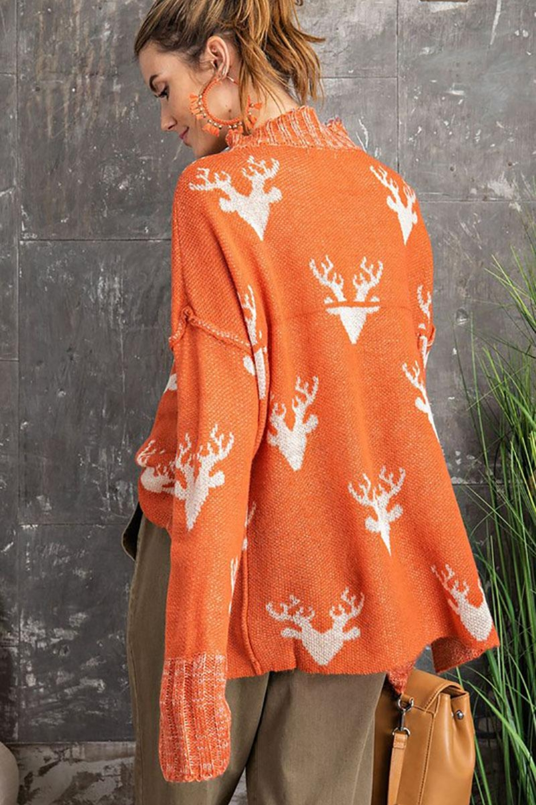 easel Super Soft Reindeer Holiday Inspired Knit Pullover Sweater - Back Cropped Image