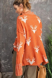 easel Super Soft Reindeer Holiday Inspired Knit Pullover Sweater - Back cropped