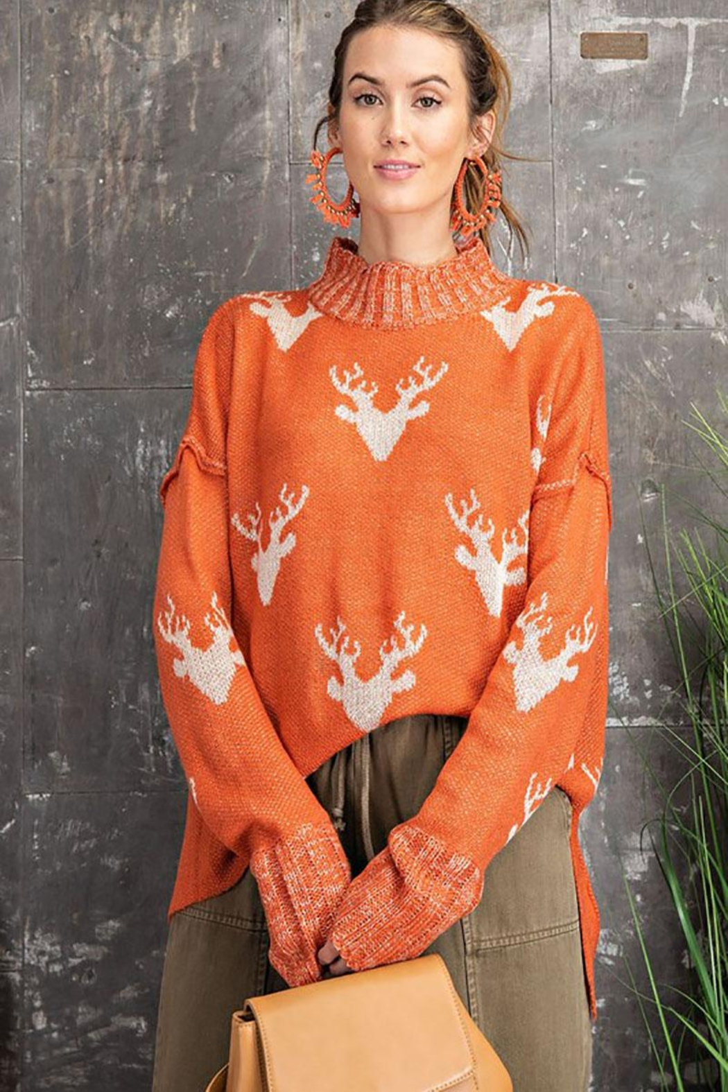 easel Super Soft Reindeer Holiday Inspired Knit Pullover Sweater - Front Full Image