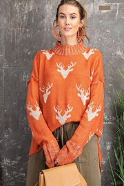 easel Super Soft Reindeer Holiday Inspired Knit Pullover Sweater - Front full body
