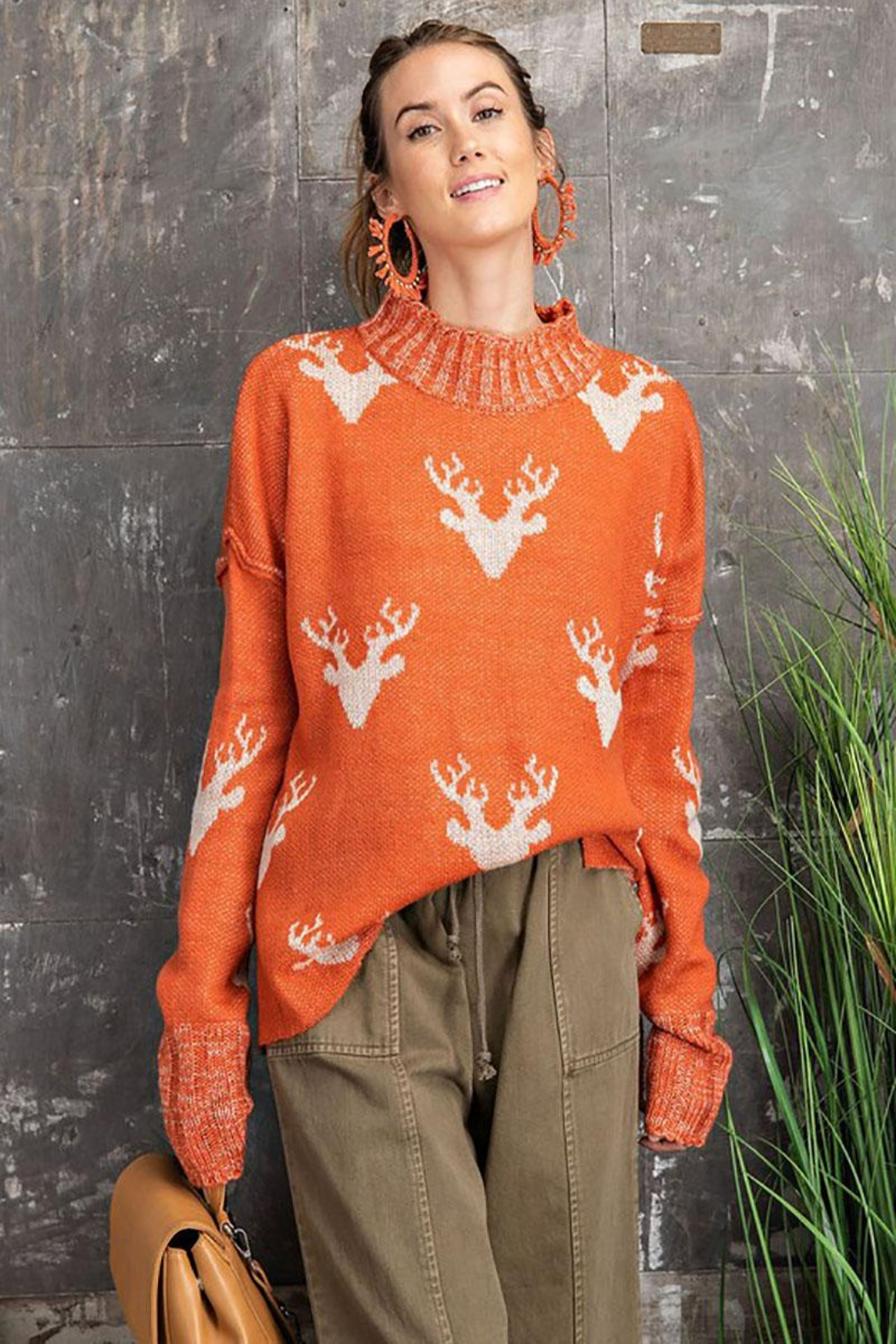 easel Super Soft Reindeer Holiday Inspired Knit Pullover Sweater - Main Image