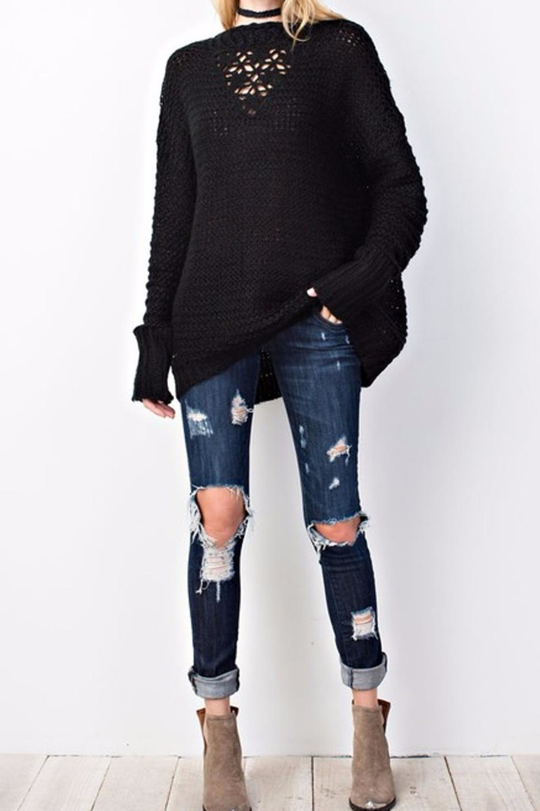 easel Sweater Knit Tunic - Side Cropped Image