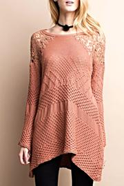easel Terracotta Crochet Sweater - Product Mini Image