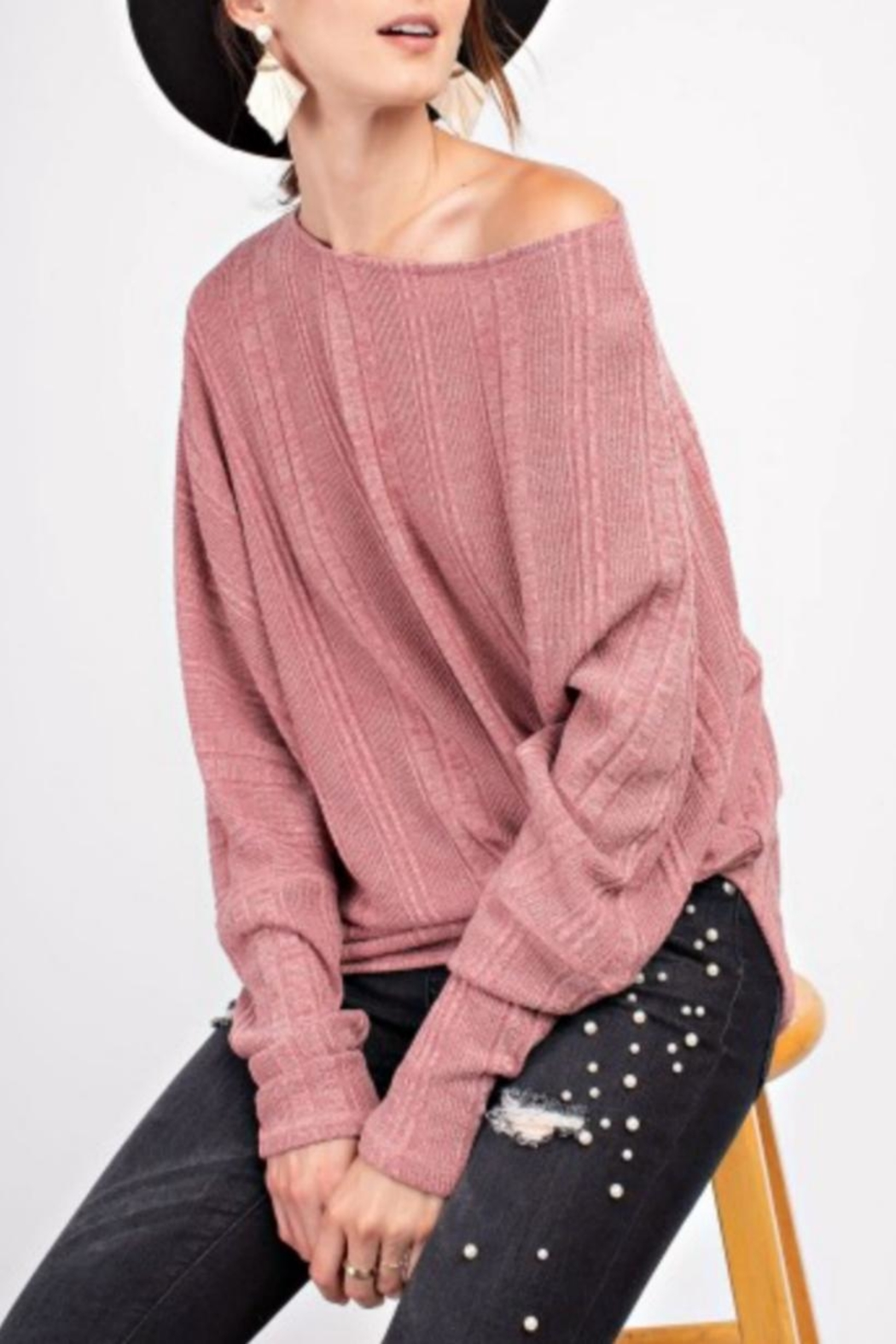 easel Textured Asymmetrical Tunic - Front Full Image