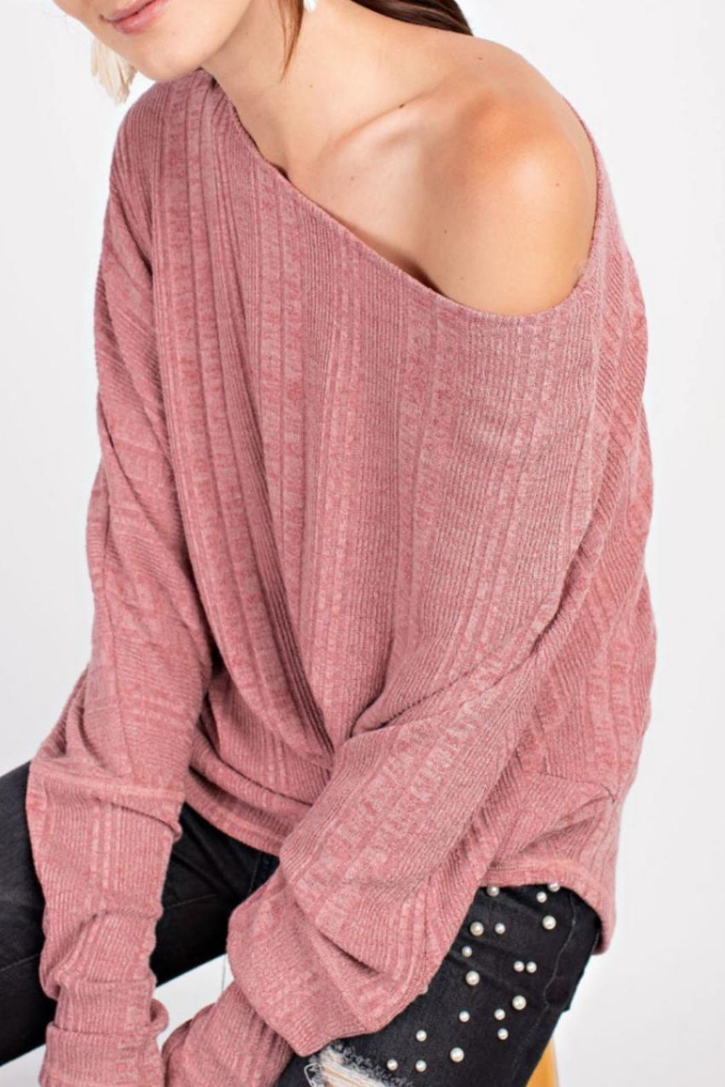 easel Textured Asymmetrical Tunic - Back Cropped Image