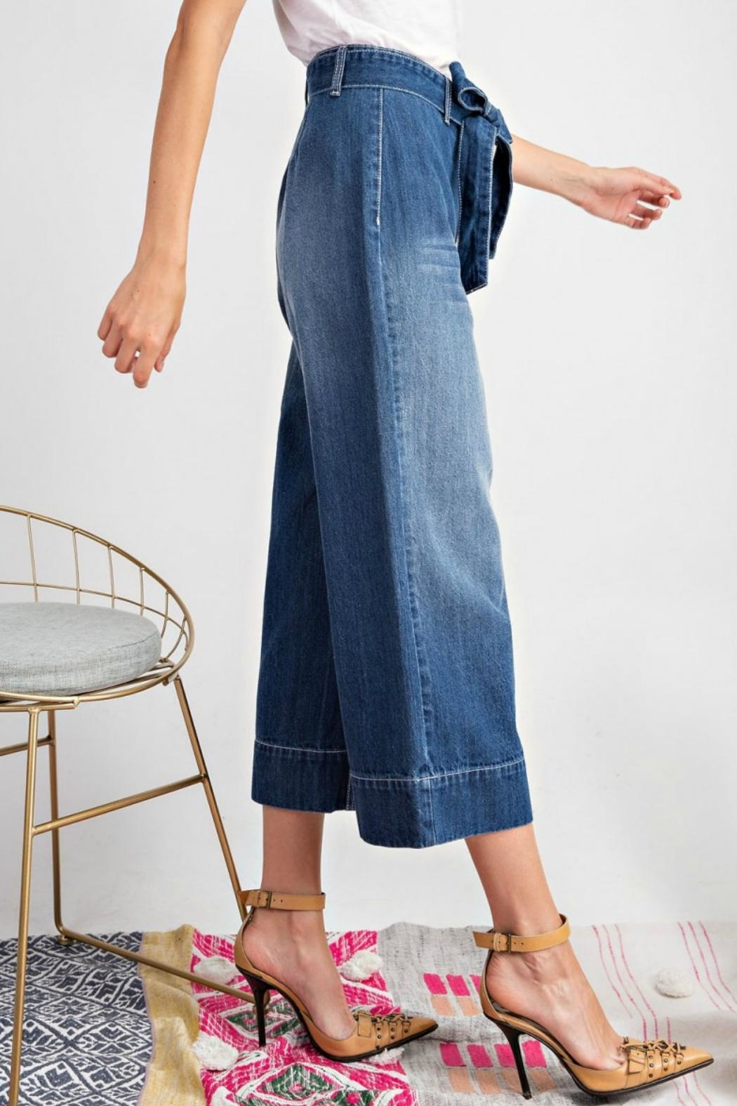 easel Tie Waist Jeans - Back Cropped Image