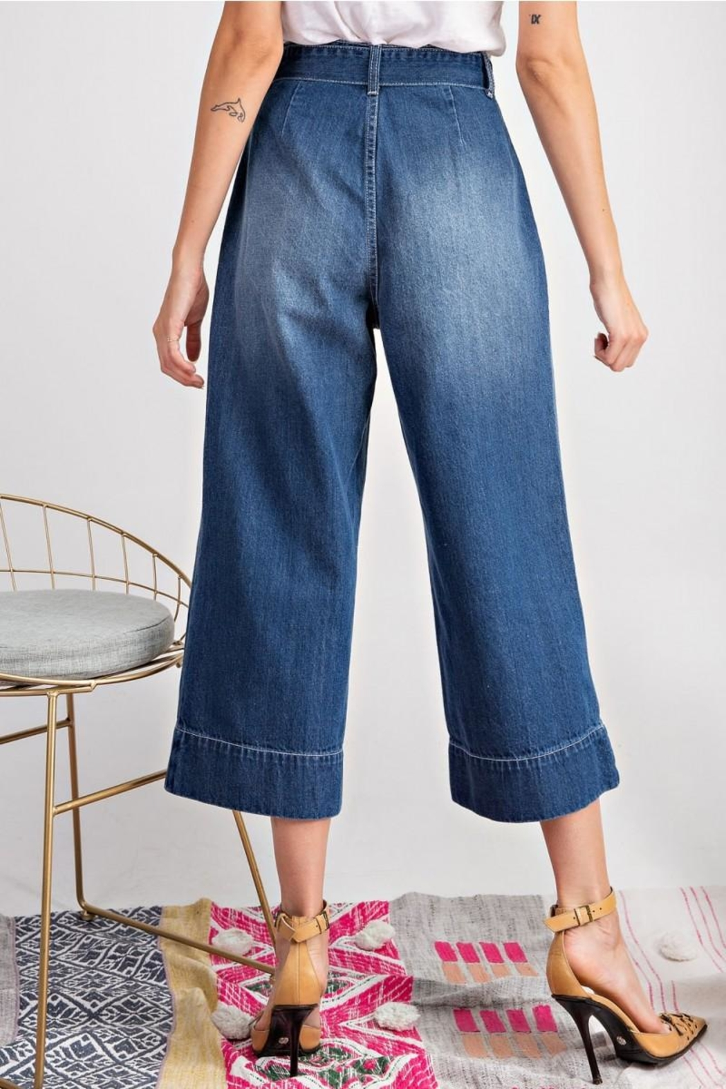 easel Tie Waist Jeans - Front Full Image