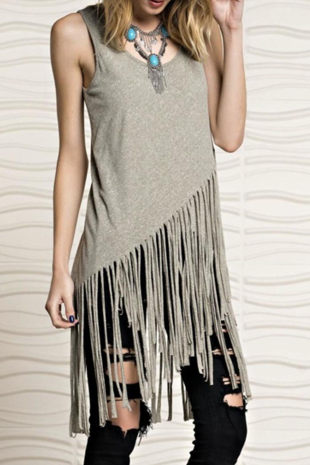 easel Tribal Knit Tank - Side Cropped Image