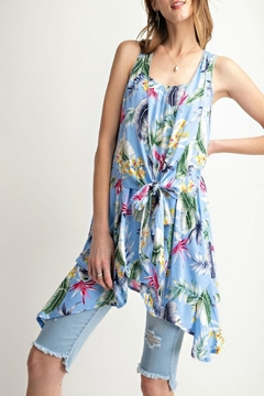 easel Tropical-Print Tie-Front Tunic - Alternate List Image