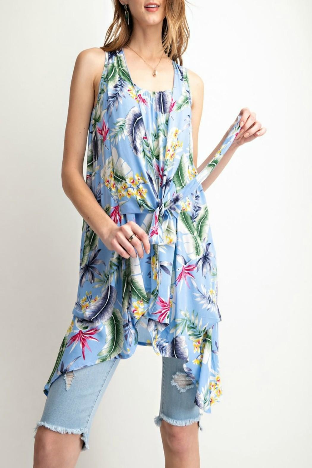 45b2ba923ab easel Tropical-Print Tie-Front Tunic from Kansas by Seirer s ...