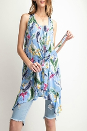easel Tropical-Print Tie-Front Tunic - Product Mini Image