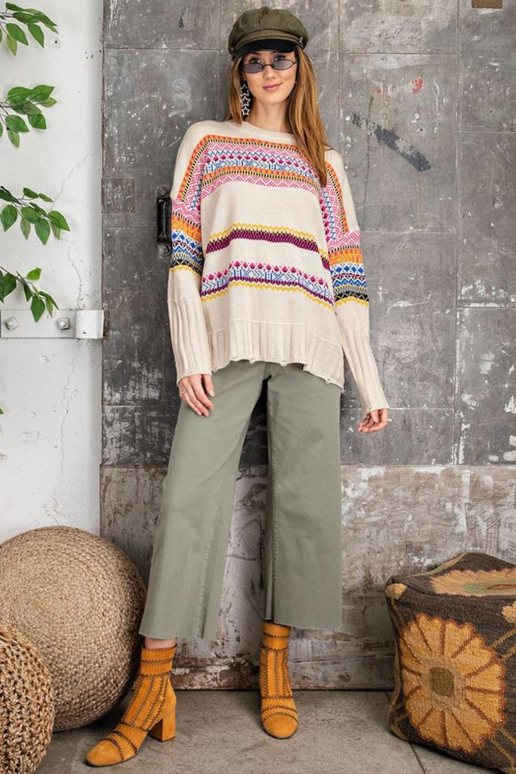 easel Unique Aztec Tribal Inspired Knit Sweater Pullover Jumper - Back Cropped Image