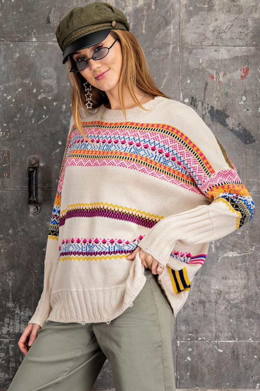 easel Unique Aztec Tribal Inspired Knit Sweater Pullover Jumper - Main Image