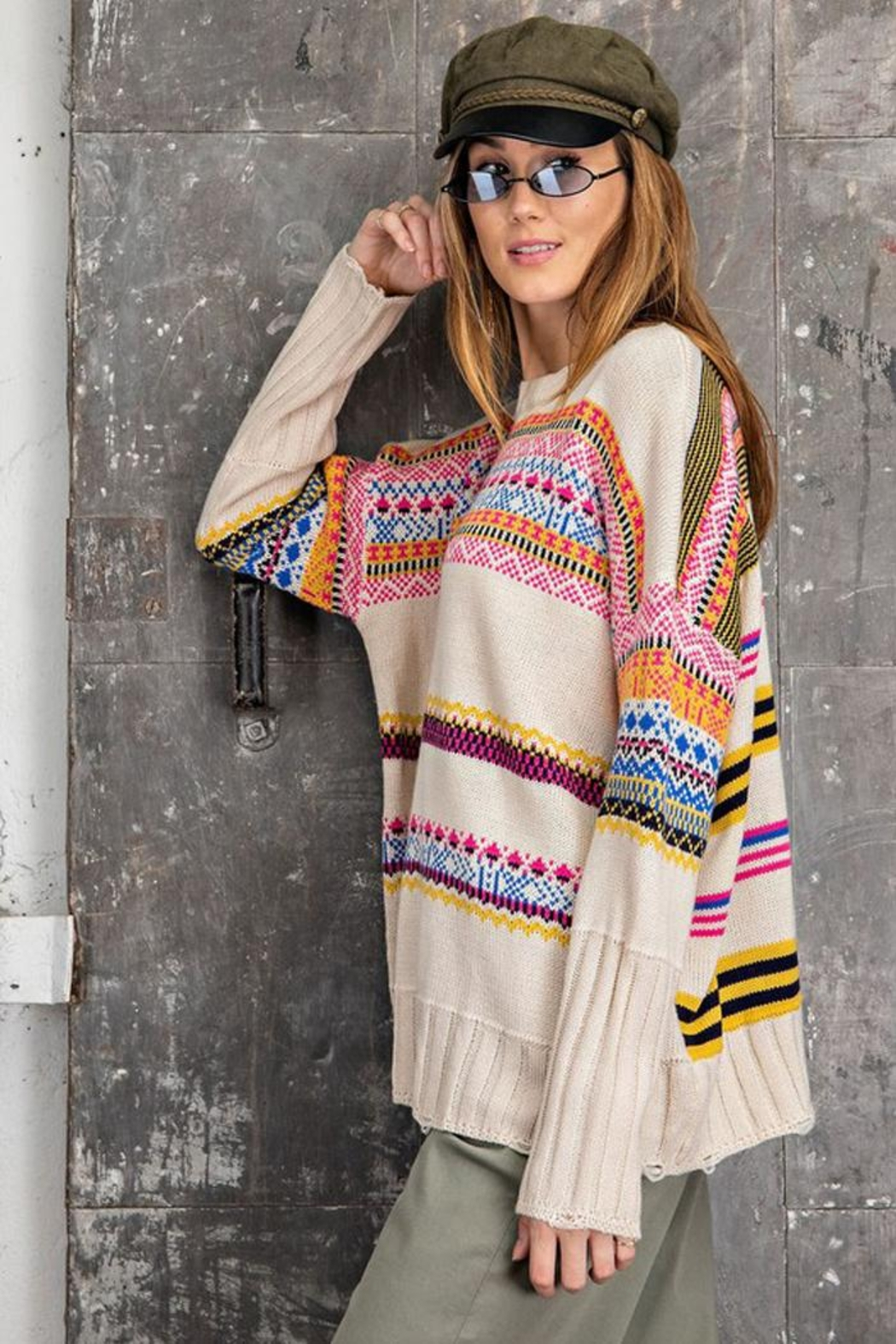 easel Unique Aztec Tribal Inspired Knit Sweater Pullover Jumper - Side Cropped Image