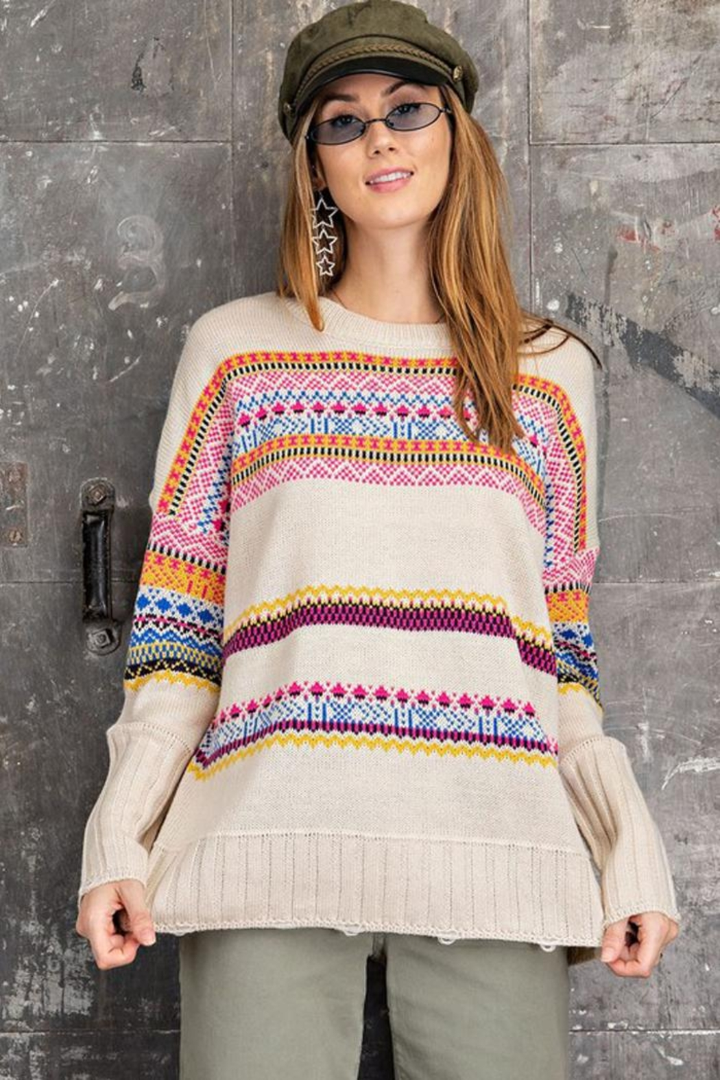 easel Unique Aztec Tribal Inspired Knit Sweater Pullover Jumper - Front Full Image