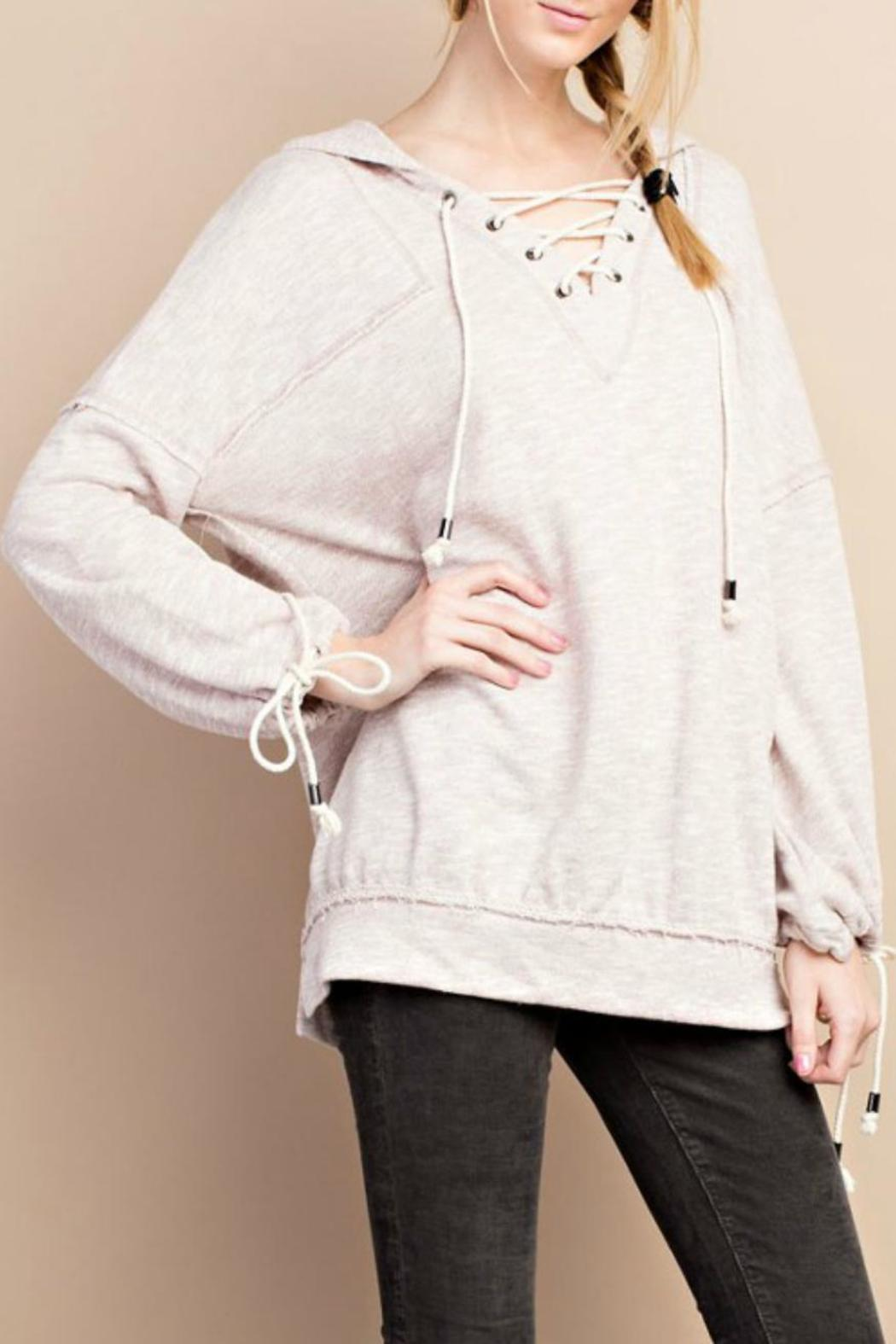easel Lace Up Hoodie - Front Full Image