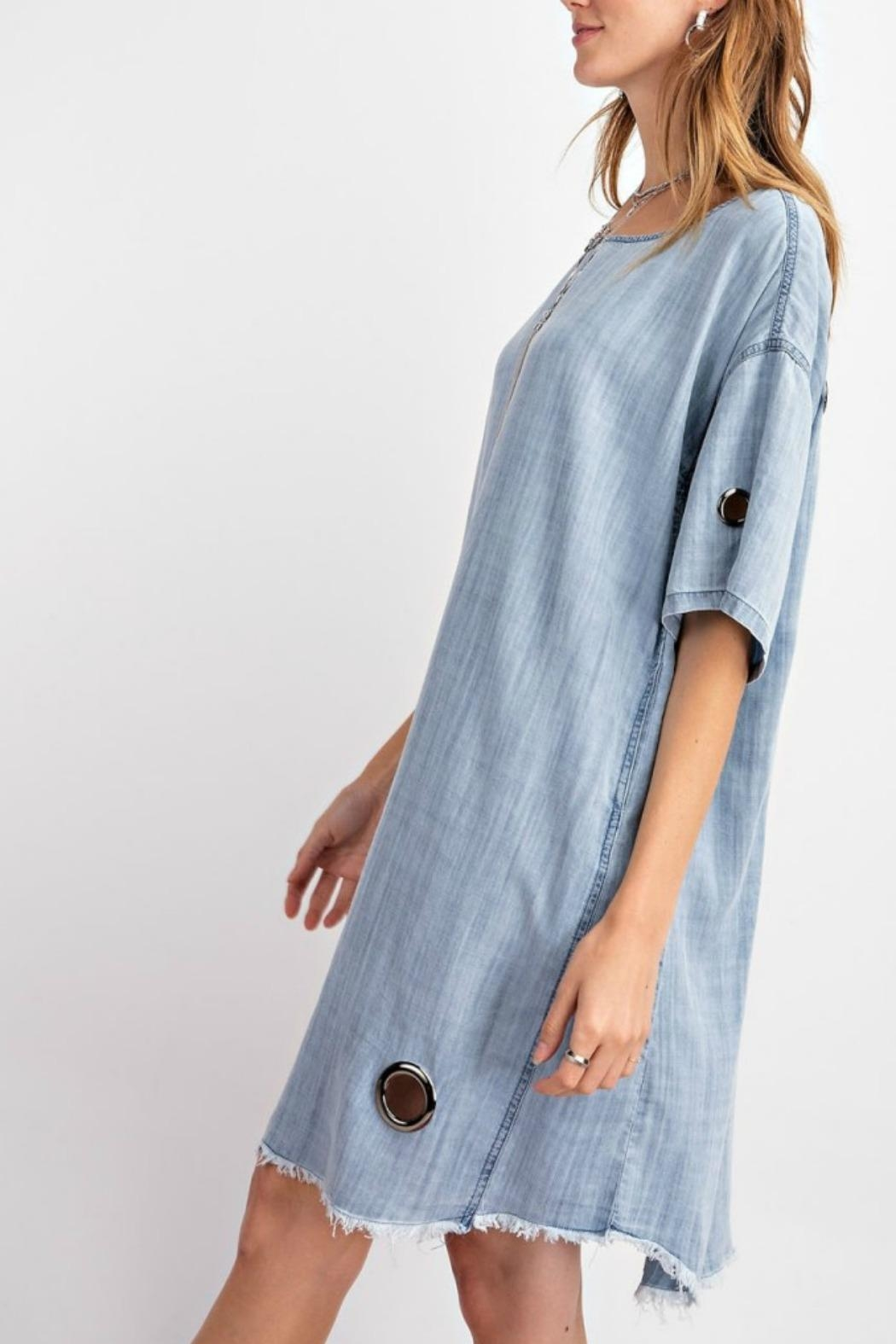 easel Washed Eyelet Denim - Side Cropped Image