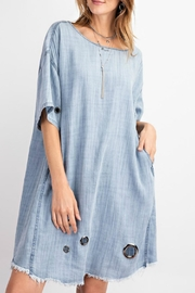 easel Washed Eyelet Denim - Front full body
