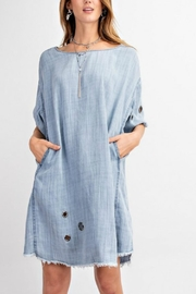 easel Washed Eyelet Denim - Front cropped