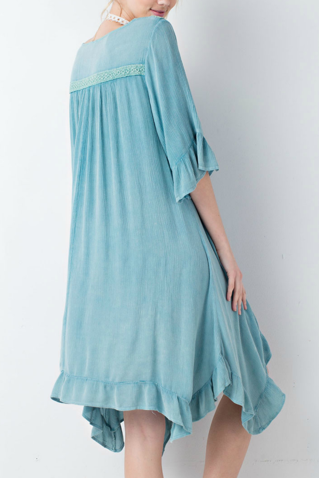 easel Washed Ruffle Dress - Front Full Image