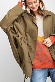 easel Washed Twill Poncho - Front full body