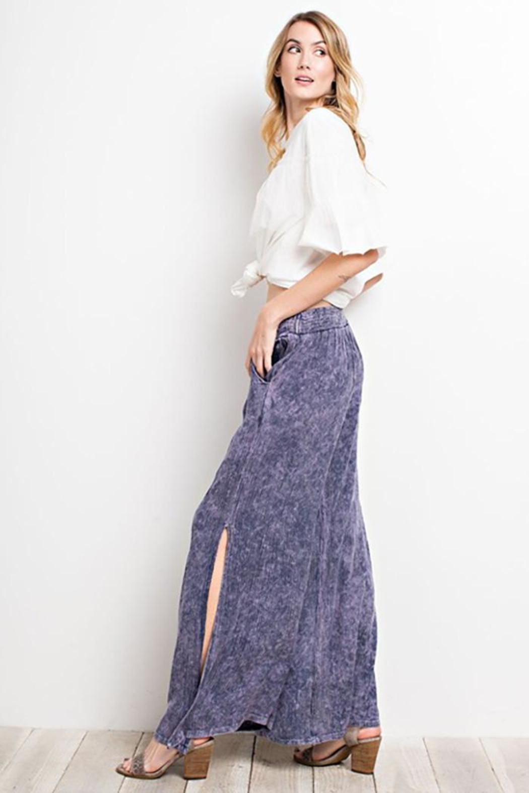 easel Washed Wide-Leg Pants - Back Cropped Image