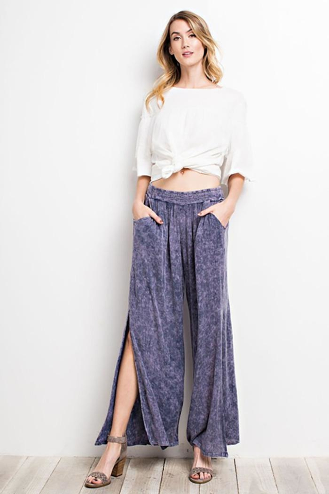 easel Washed Wide-Leg Pants - Front Cropped Image