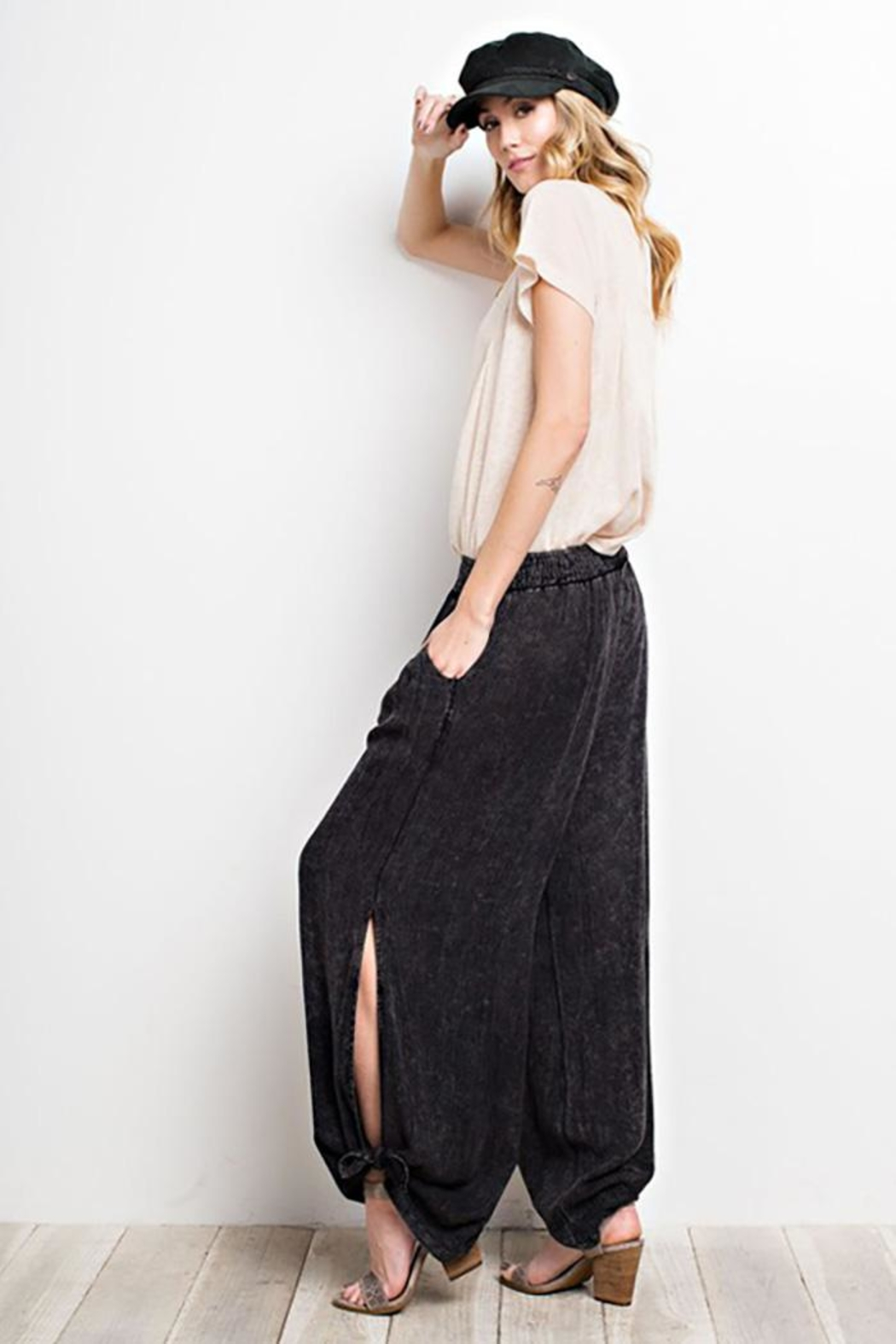 easel Washed Wide-Leg Pants - Front Full Image