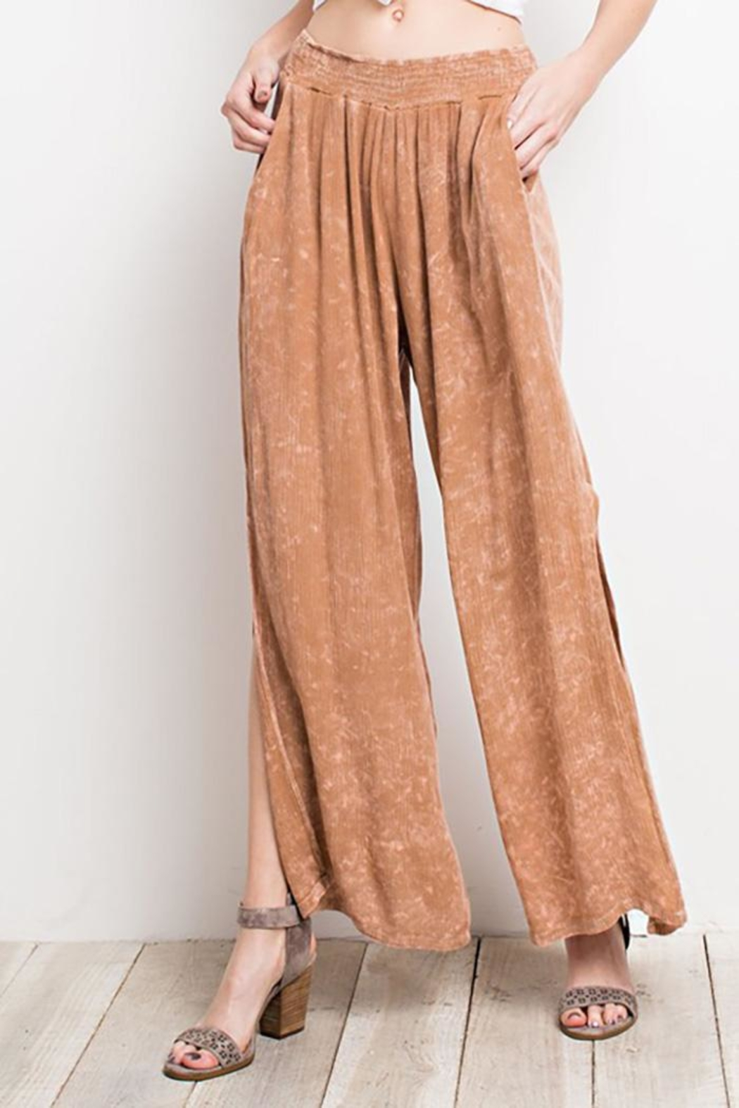 easel Washed Wide-Leg Pants - Side Cropped Image