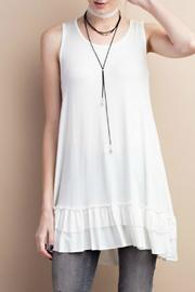 easel White Ruffled Top - Front cropped