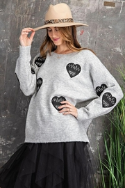 easel Women's Heartbeat Loose Fit Knit Pullover Sweater - Front full body