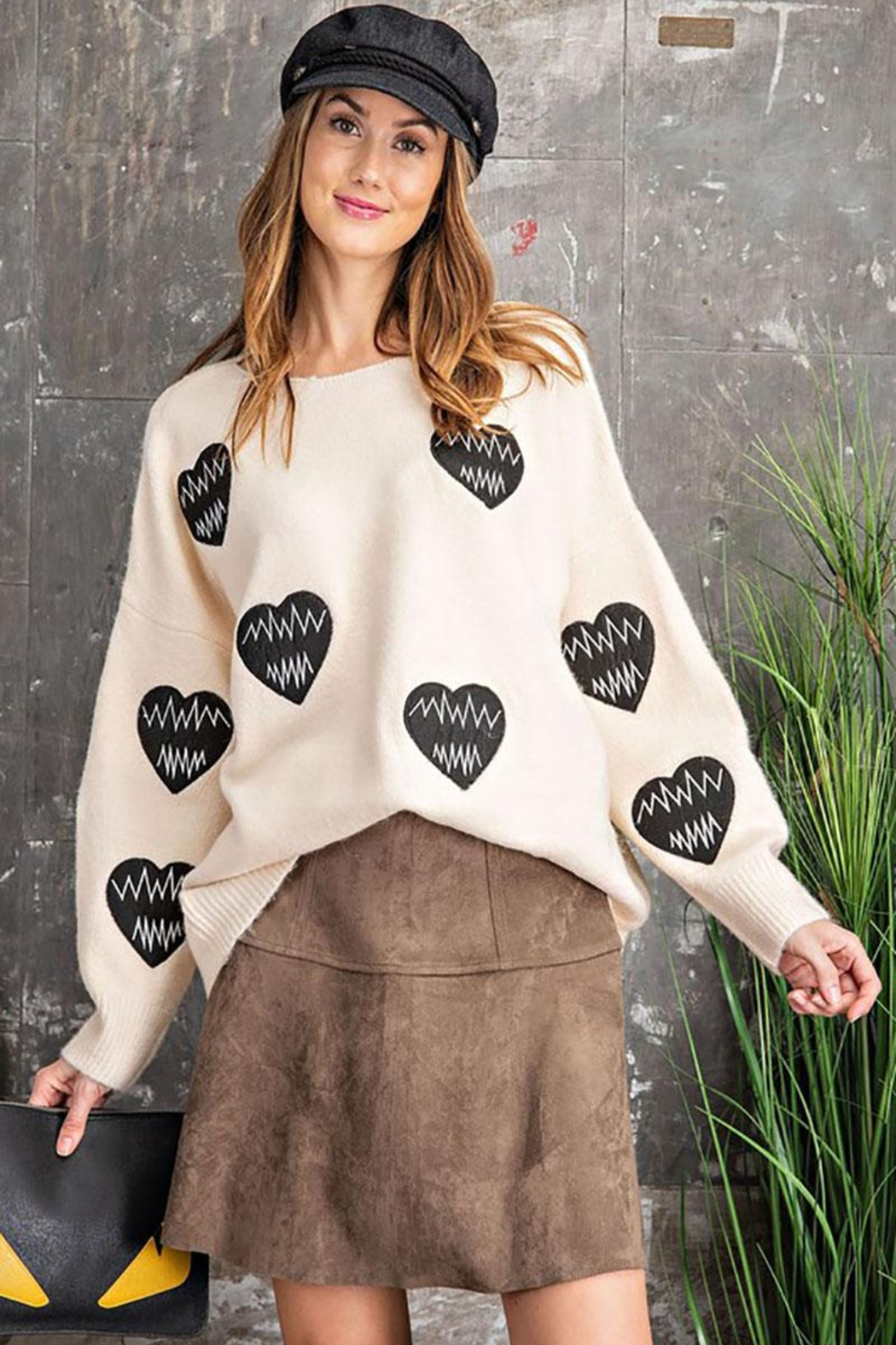 easel Women's Heartbeat Loose Fit Knit Pullover Sweater - Front Full Image