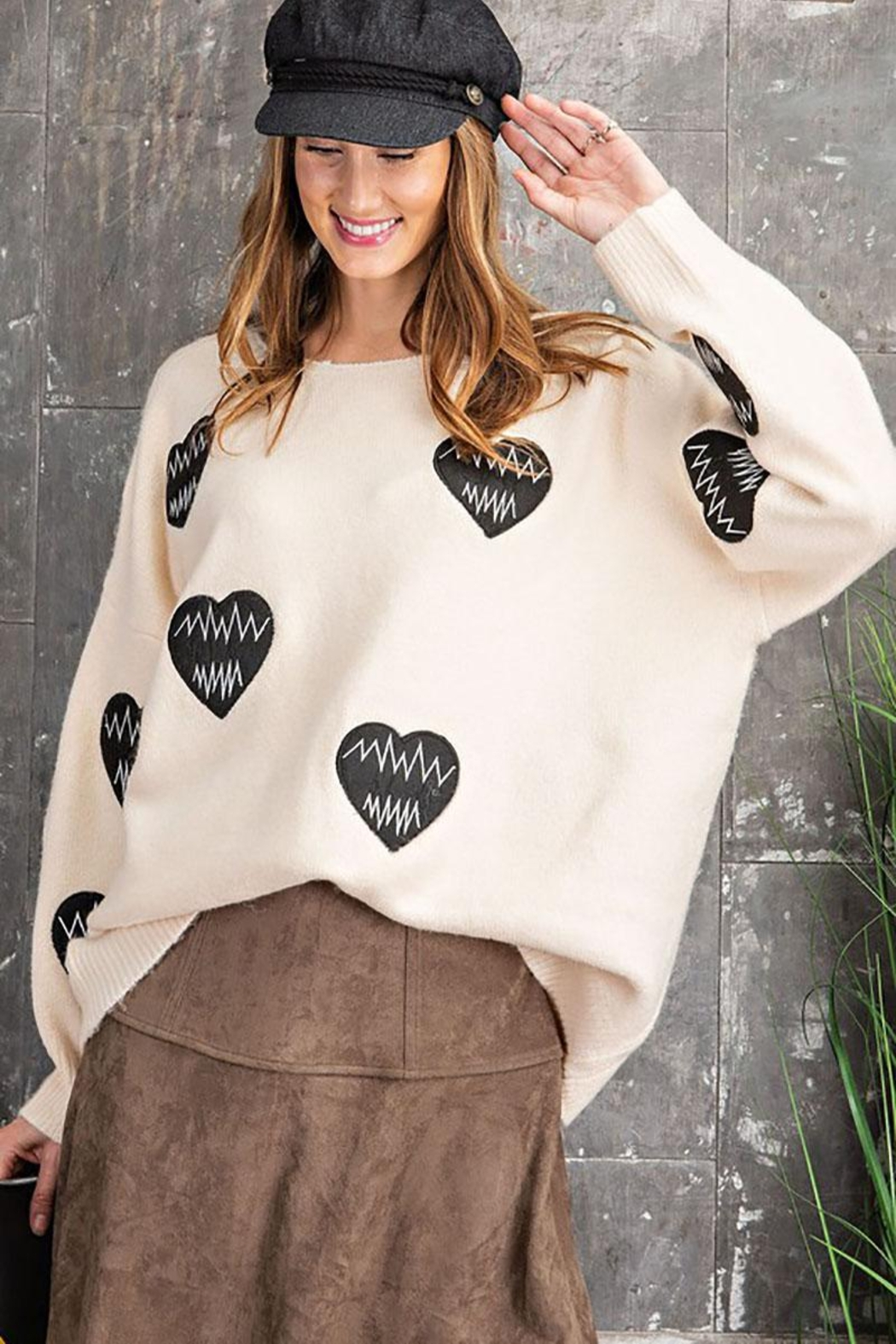 easel Women's Heartbeat Loose Fit Knit Pullover Sweater - Front Cropped Image