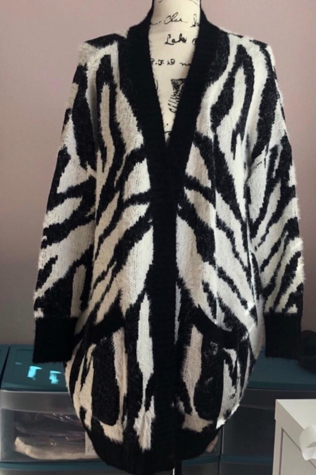 easel Zebra Mohair Cardigan - Side Cropped Image
