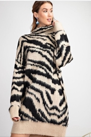 easel Zebra Sweater Dress - Product Mini Image
