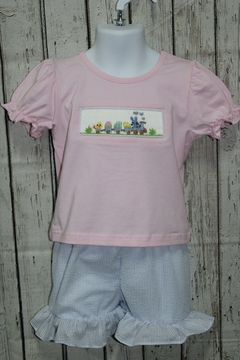 Babeeni Easter Train Smocked T-shirt with Seersucker Ruffle Shorts - Product List Image