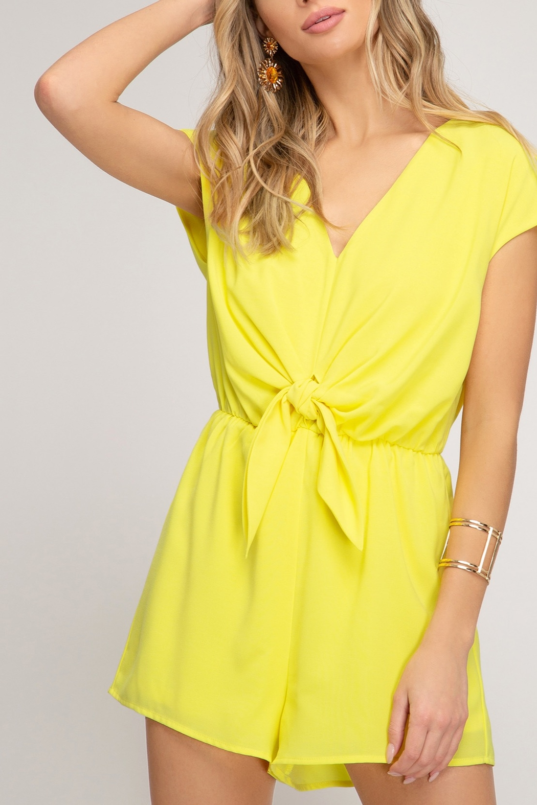 She and Sky Easy Days Romper - Front Cropped Image