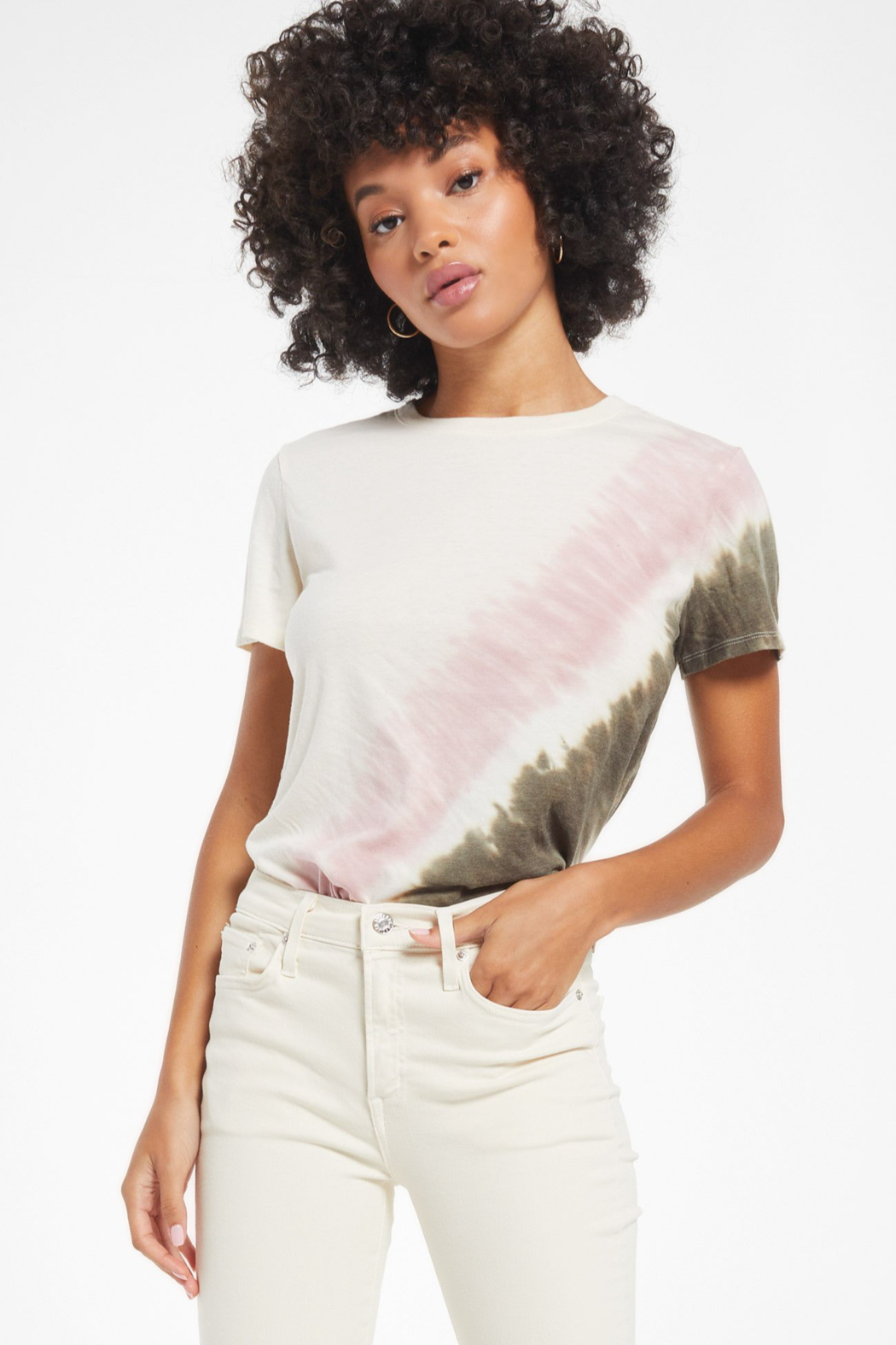 z supply EASY STRIPE TIE-DYE TEE - Front Cropped Image