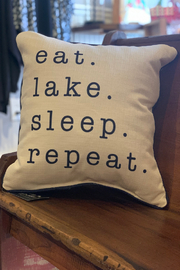Little Birdie Eat. Lake. Sleep. Repeat Pillow with Piping - Product Mini Image