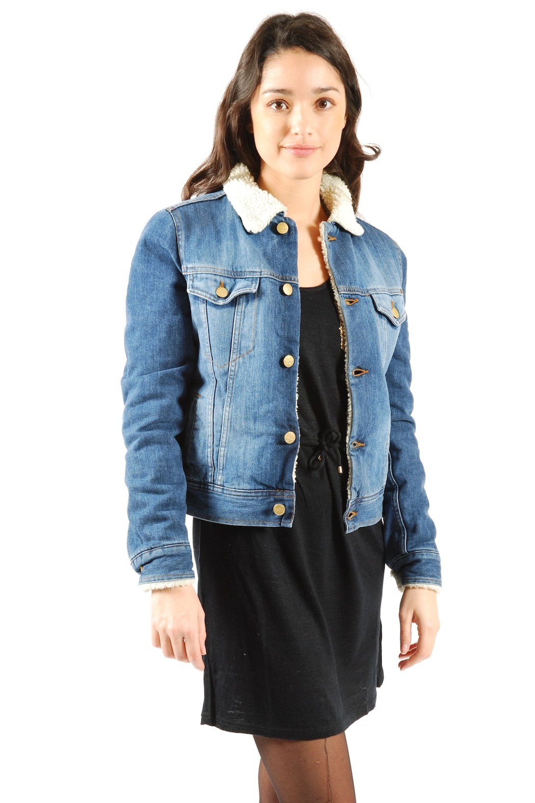 Fur Lined Denim Jacket From Marais By Acquaverde Shoptiques