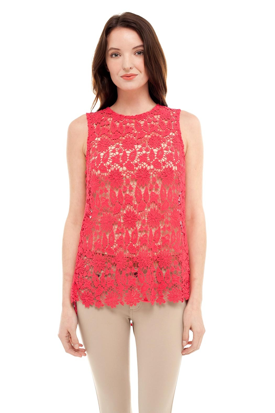 Alison Stiles Lace Crochet Knit Top - Front Cropped Image