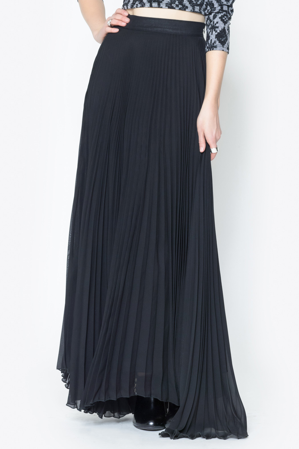 See You Monday Accordian Pleat Maxi Skirt - Front Cropped Image