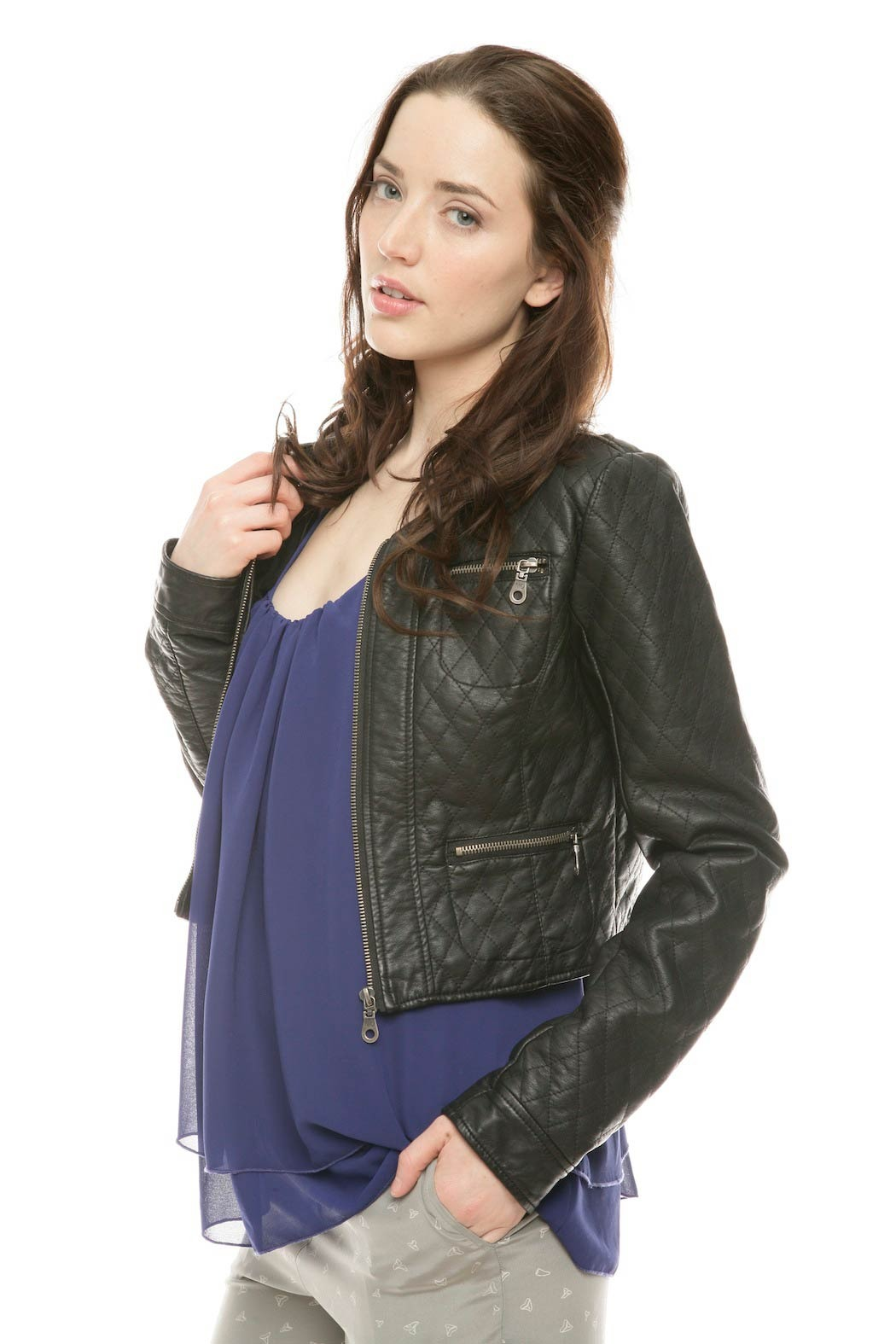 Members Only Cropped Moto Jacket - Side Cropped Image