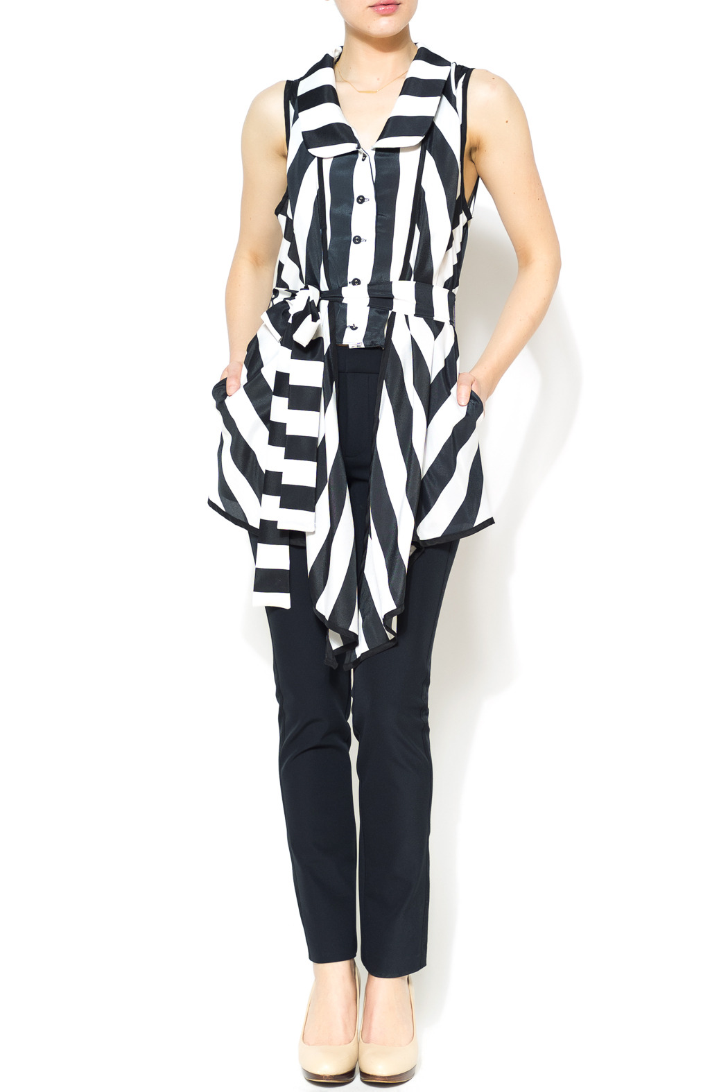 Nico LA Striped Belted Top - Front Full Image