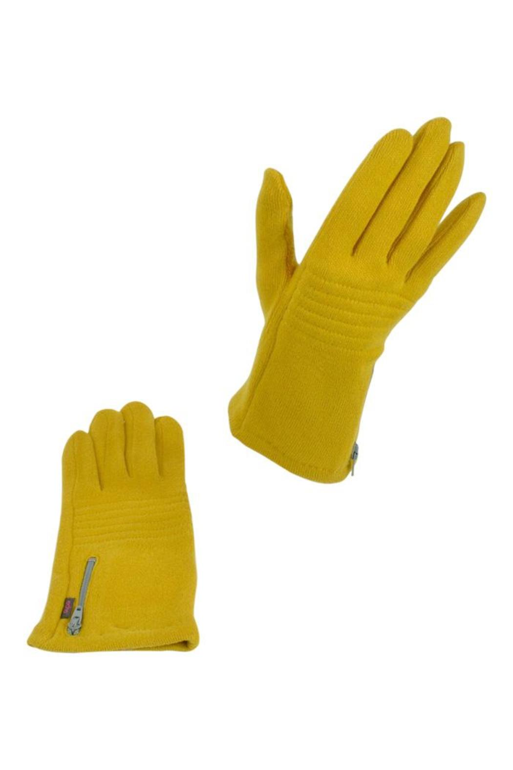 Echo Design Mustard Zip Gloves - Front Cropped Image