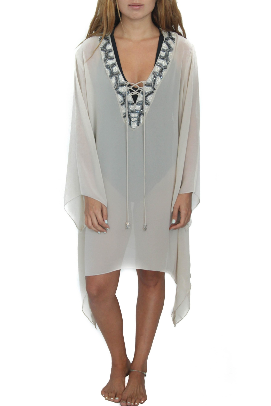 Eclectic Array Beaded Sand Tunic Dress - Main Image