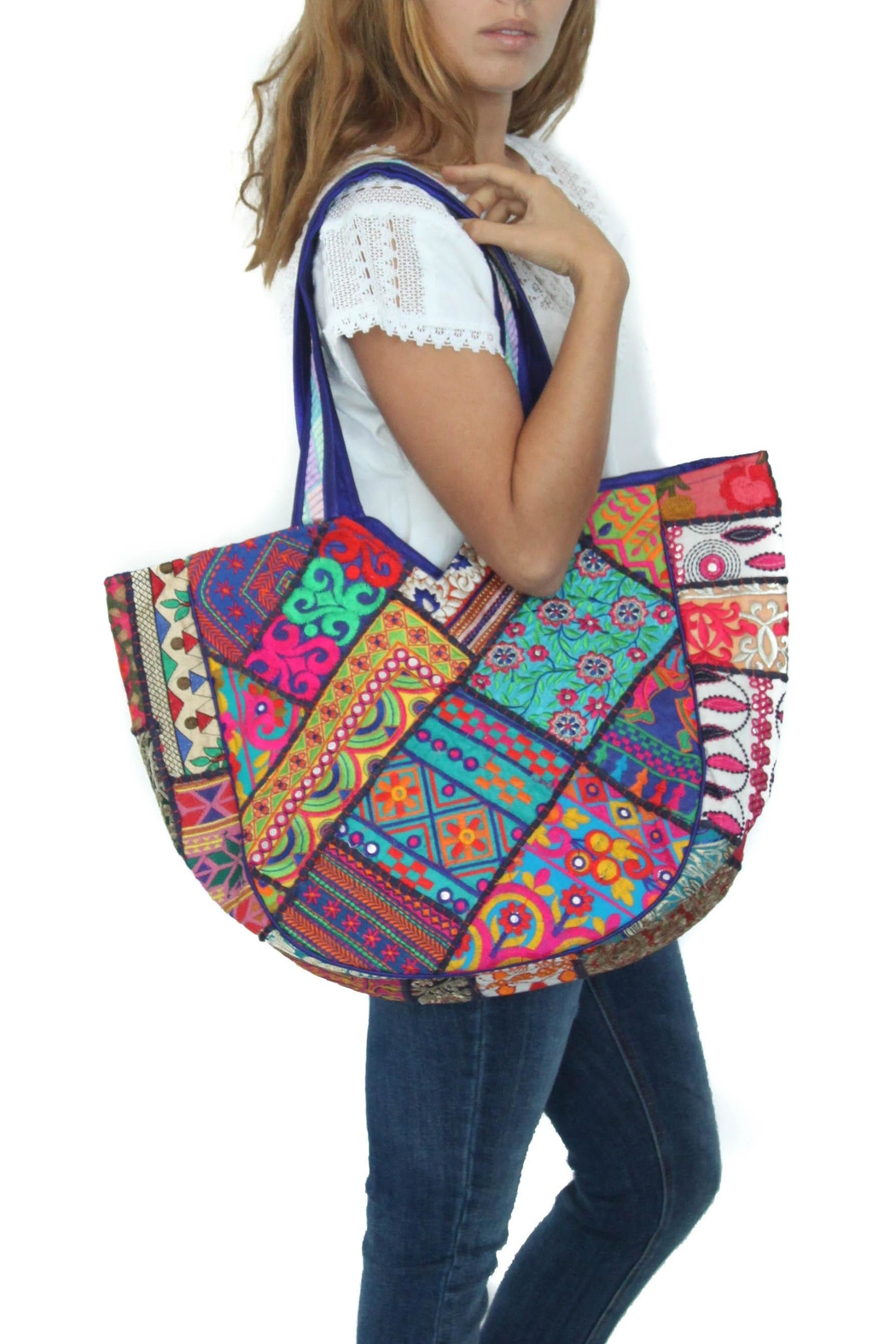 Eclectic Array Embellished Beach Bag - Main Image
