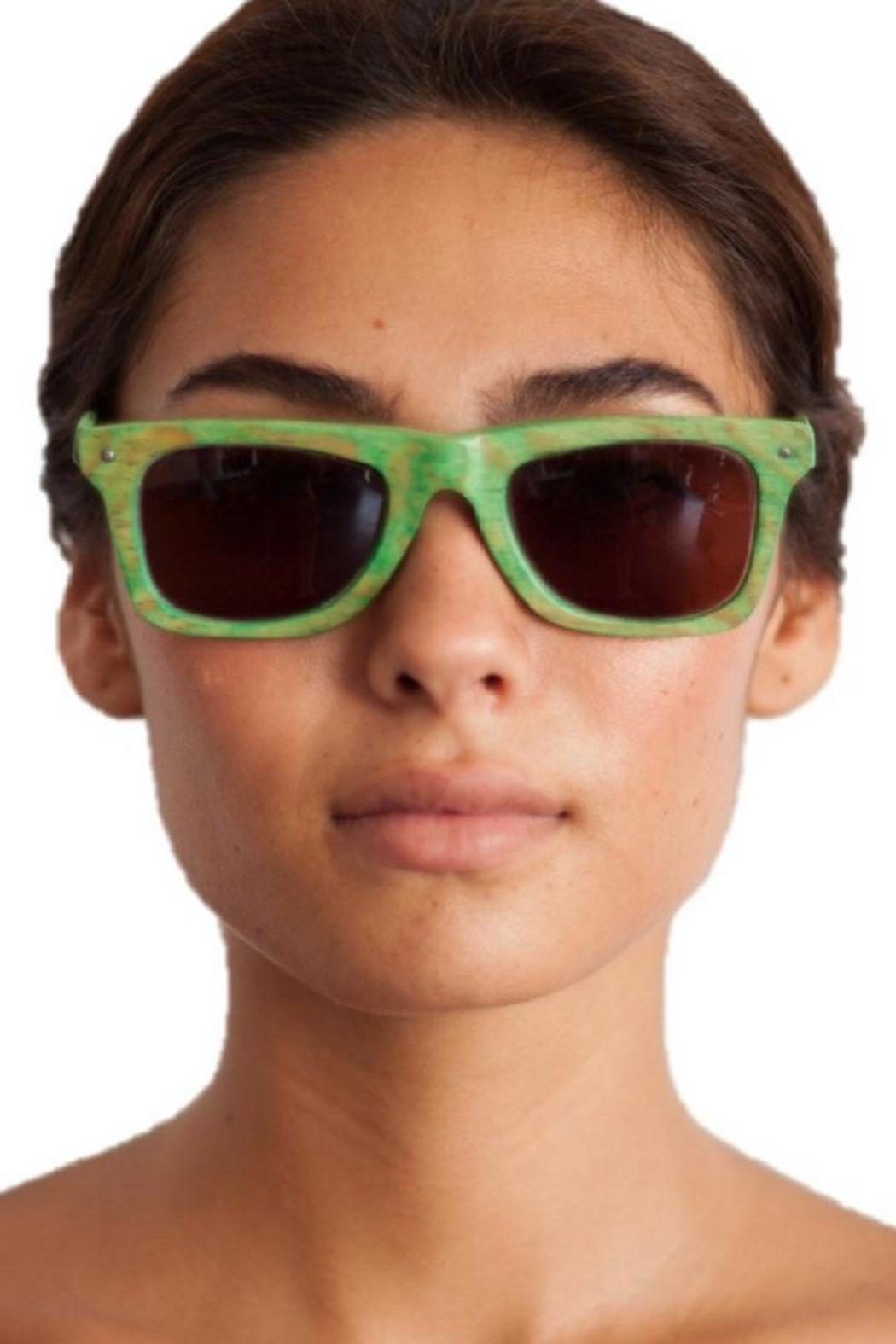 Eclectic Array Green Wood Sunglasses - Front Cropped Image