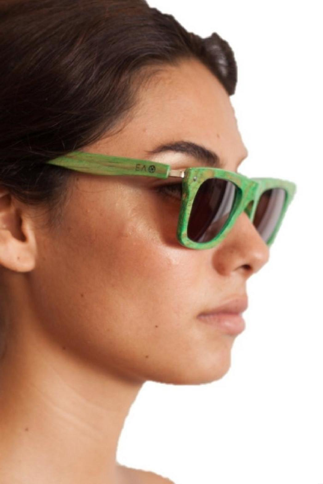 Eclectic Array Green Wood Sunglasses - Front Full Image