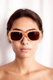 Eclectic Array Oversized Wood Sunglasses - Product Mini Image